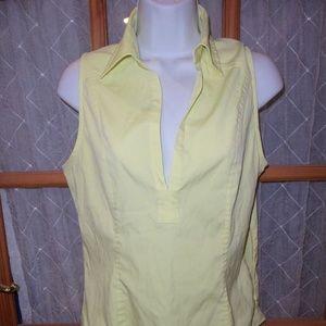 Women's Top Size 10 Yellow Sleeveless V-Neck